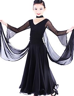 Ballroom Dance Dresses Children's Tulle / Viscose Black Modern Dance / Performance Spring, Fall, Winter, Summer Long Sleeve