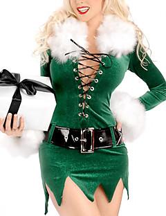 Cosplay Kostüme Santa Anzüge Fest/Feiertage Halloween Kostüme Grün Kleid / Gürtel Weihnachten Frau Samt
