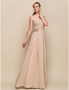 brudepike kjole gulv lengde chiffon skjede kolonne en skulder kjole (929 954)