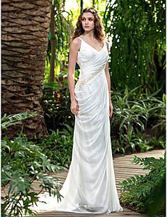 Sheath/Column Wedding Dress - Ivory Court Train V-neck Chiffon