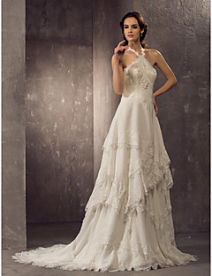 Lanting Bride Sheath/Column Petite / Plus Sizes Wedding Dress-Court Train Halter Chiffon / Lace
