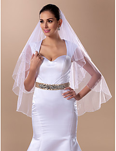 Two-tier Fingertip Wedding Veil With Beading(More Colors)