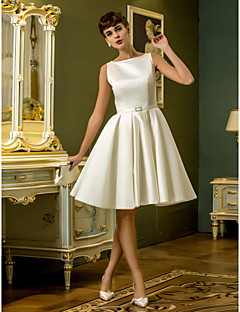 LAN TING BRIDE A-line Wedding Dress Little White Dress Simply Sublime Knee-length Bateau Satin with Sash / Ribbon