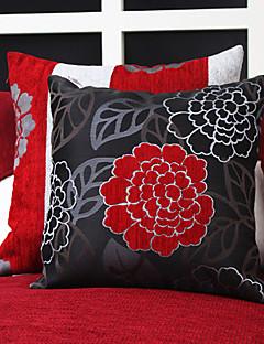 Set av 2 Kina Flower Jacquard Polyester Dekorativa Kuddfodral