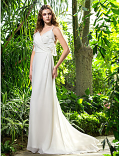 Lanting Bride® Sheath / Column Petite / Plus Sizes Wedding Dress - Chic & Modern Spring 2014 Sweep / Brush Train Spaghetti Straps Chiffon