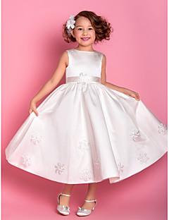 Lanting noiva ® bainha / coluna de chá de comprimento vestido da menina flor - de cetim / tule bateau mangas com apliques / faixa / fita