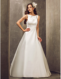 Lanting Bride A-line Petite / Plus Sizes Wedding Dress-Floor-length Bateau Satin