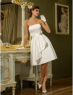 Lanting Bride A-line Petite / Plus Sizes Wedding Dress-Knee-length Strapless Satin