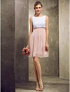 Short/Mini Chiffon Bridesmaid Dress - Multi-color Plus Sizes / Petite A-line Bateau