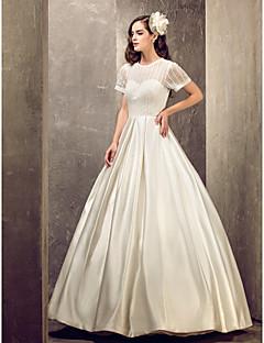 Lanting novia una línea petite / tallas grandes de la boda vestido-joya piso-longitud de satén