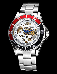 Herren Armbanduhr Mechanische Uhr Automatikaufzug Transparentes Ziffernblatt Edelstahl Band Silber Marke