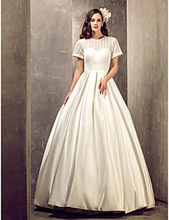 Lanting Bride® A-vonalú Alacsony / Extra méretek Menyasszonyi ruha - Elegáns és fényűző / Elbűvölő és drámai Földig érő Ékszer Szaténval
