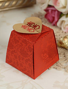 Floral estilo asiático Red Boxes favor do casamento - conjunto de 12