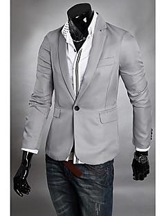 男性用 プレイン カジュアル / フォーマル ブレザー,長袖 コットン混 / ウール混 ブラック / ブルー / グレー