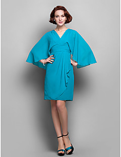 Sheath/Column Plus Sizes / Petite Mother of the Bride Dress - Jade Knee-length 3/4 Length Sleeve Chiffon