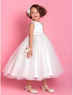 lanting 신부 ®는 온라인 / 공주 차 길이 꽃의 소녀 드레스 - 아플리케 / 구슬 새틴 / 얇은 명주 그물 민소매 보석