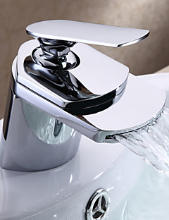 Bathroom Sink Faucet Contemporary design Waterfall Spout (Chrome Finish)