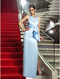 Formal Evening/Military Ball Dress - Sky Blue Plus Sizes Sheath/Column Jewel Floor-length Satin