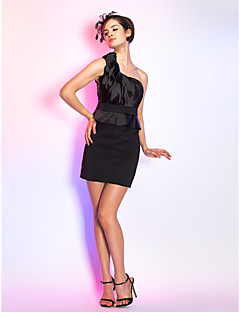 Cocktail Party / Holiday Dress - Black Plus Sizes / Petite Sheath/Column One Shoulder Short/Mini Stretch Satin