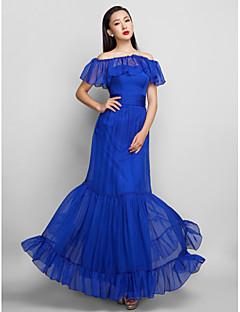 저녁 정장파티/프롬/밀리터리 볼 드레스 - 로얄 블루 A라인 발목 길이 스트랩 없음 쉬폰 플러스 사이즈