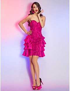 Cocktail Party / Homecoming / Holiday Dress - Fuchsia Plus Sizes / Petite A-line Strapless Short/Mini Lace / Satin Chiffon