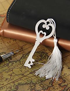 Silver Heart & Key bogmærke med kvast