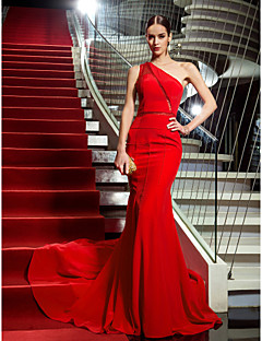 Military Ball/Formal Evening Dress - Ruby Plus Sizes Trumpet/Mermaid One Shoulder Sweep/Brush Train Chiffon