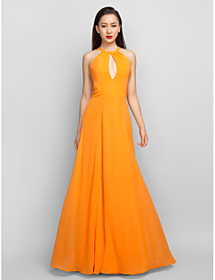 Formal Evening/Prom/Military Ball Dress - Orange Plus Sizes A-line Halter Floor-length Chiffon