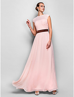 Formal Evening/Prom/Military Ball Dress - Pearl Pink Plus Sizes A-line Jewel Floor-length Georgette