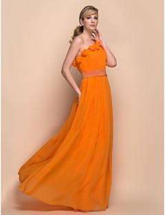 Vestito da damigella - Arancione Tubino Monospalla A Terra Chiffon/Satin elastico Taglie grandi