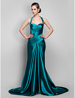 Military Ball/Formal Evening Dress - Jade Plus Sizes Trumpet/Mermaid Halter Sweep/Brush Train Stretch Satin