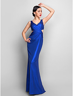 Formal Evening/Military Ball Dress - Royal Blue Plus Sizes Trumpet/Mermaid V-neck Floor-length Jersey