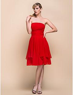 라인 끈이없는 드레스 쉬폰 들러리 드레스 무릎 길이 (929963)