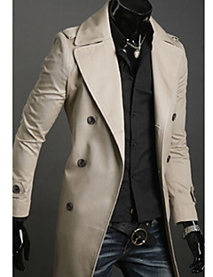 Men's Solid Casual Trench coat,Cotton Long Sleeve-Black / Green / White