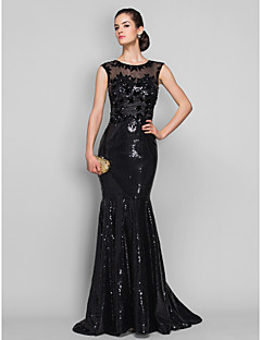 TS Couture Formal Evening Military Ball Dress - See Through Beautiful Back Trumpet / Mermaid Scoop Sweep / Brush Train Tulle Sequined with