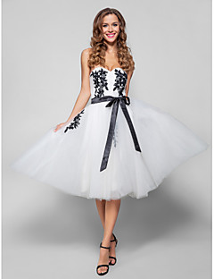 TS Couture® Cocktail Party / Holiday Dress - White Plus Sizes / Petite A-line Sweetheart Knee-length Tulle