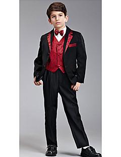 Otte stykker Black And Red Ring Bearer Suit Tuxedo