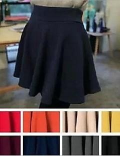 Moda feminina cor sólida cintura alta Mini Saia 8 cores