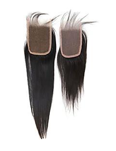 """14 """"brésilien soyeux cheveux dentelle droite Haut fermeture (3.5"""" * 4 """") Couleur Naturel"""
