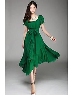Sexet I-byen-tøj Swing Kjole Ensfarvet,U-hals Midi Kortærmet Rød Sort Grøn Forår Sommer Efterår Mikroelastisk Tynd