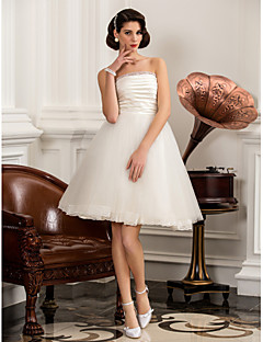 Lanting Bride A-line / Princess Petite / Plus Sizes Wedding Dress-Knee-length Strapless Satin / Tulle