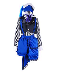 Inspireret af Sort Butler Ciel Phantomhive Anime Cosplay Kostumer Cosplay Suits Patchwork Hvid / Sort / BlåVest / Bluse / Bukser / Hat /