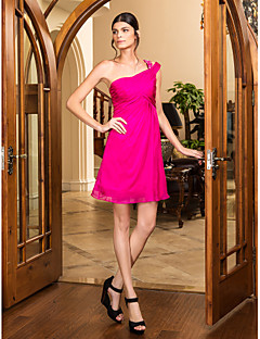 Cocktail Party/Holiday/Prom Dress - Fuchsia Plus Sizes A-line One Shoulder Short/Mini Chiffon
