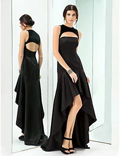 Formeller Abend/Ball/Militär Ball Kleid - Schwarz Satin/Samt - A-Linie - asymmetrisch - Juwel-Ausschnitt