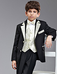 Seven Pieces Black And Gold Ring Bearer Suit Tuxedo med to Bow Ties