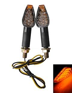 Långa handtag Vattentät 2W 112lm 15-LED Motorcykel Yellow Light Steering Lamp - Svart