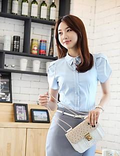 Mulheres Camisa Formal Simples Verão,Sólido Azul / Branco Algodão Colarinho de Camisa Manga Curta Fina