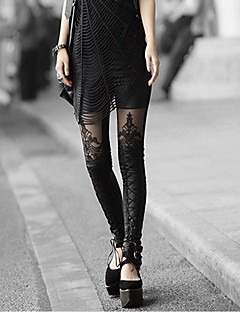 Kvinnors Broderi Broder Leather Leggings