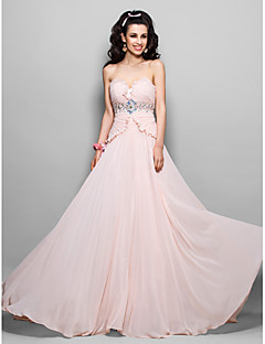 Prom/Military Ball/Formal Evening Dress - Pearl Pink Plus Sizes Sheath/Column Strapless Sweep/Brush Train Chiffon