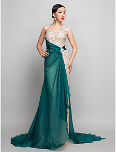 Military Ball/Formal Evening Dress - Champagne Plus Sizes A-line One Shoulder Sweep/Brush Train Chiffon